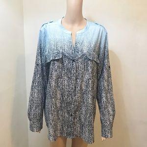 Calvin Klein blue/black patterned blouse, XL